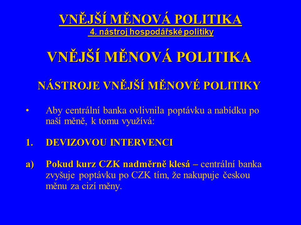 VNĚJŠÍ MĚNOVÁ POLITIKA 4. nástroj hospodářské politiky VNĚJŠÍ MĚNOVÁ POLITIKA NÁSTROJE VNĚJŠÍ MĚNOVÉ POLITIKY Aby centrální banka ovlivnila poptávku a
