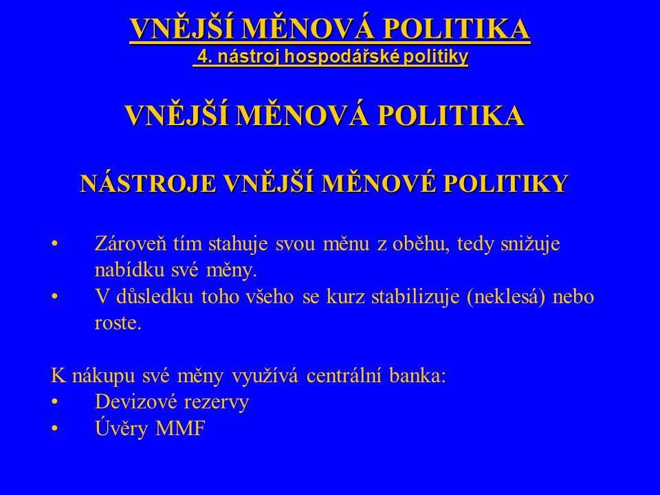 VNĚJŠÍ MĚNOVÁ POLITIKA 4. nástroj hospodářské politiky VNĚJŠÍ MĚNOVÁ POLITIKA NÁSTROJE VNĚJŠÍ MĚNOVÉ POLITIKY Zároveň tím stahuje svou měnu z oběhu, t
