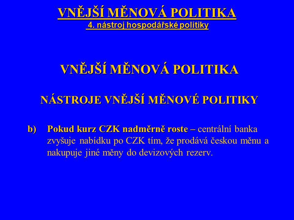 VNĚJŠÍ MĚNOVÁ POLITIKA 4. nástroj hospodářské politiky VNĚJŠÍ MĚNOVÁ POLITIKA NÁSTROJE VNĚJŠÍ MĚNOVÉ POLITIKY b)Pokud kurz CZK nadměrně roste – b)Poku