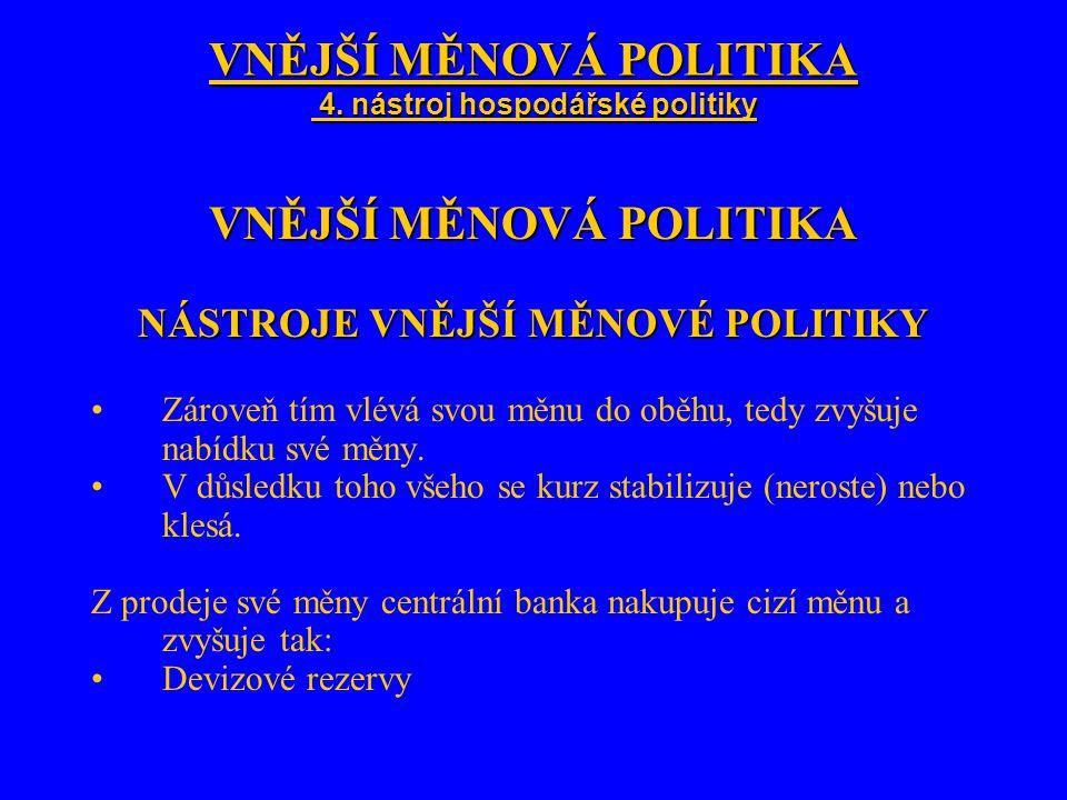 VNĚJŠÍ MĚNOVÁ POLITIKA 4. nástroj hospodářské politiky VNĚJŠÍ MĚNOVÁ POLITIKA NÁSTROJE VNĚJŠÍ MĚNOVÉ POLITIKY Zároveň tím vlévá svou měnu do oběhu, te