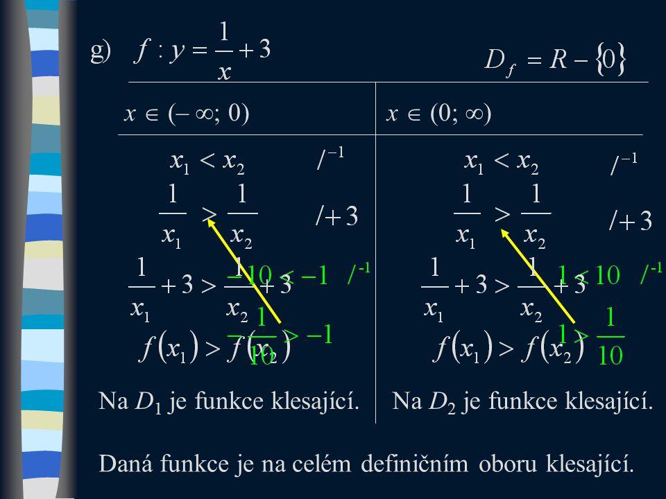 Na D 1 je funkce klesající.