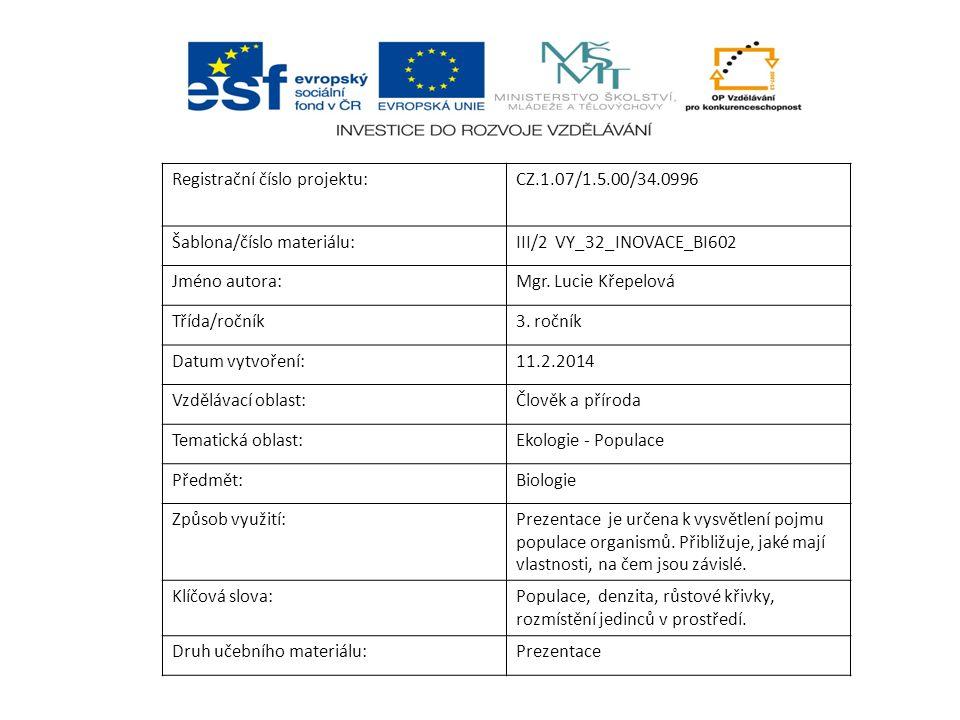 Registrační číslo projektu:CZ.1.07/1.5.00/34.0996 Šablona/číslo materiálu:III/2 VY_32_INOVACE_BI602 Jméno autora:Mgr.