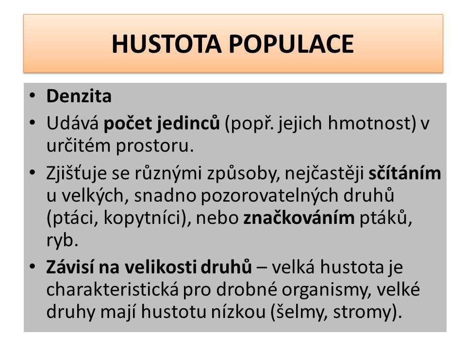 HUSTOTA POPULACE Denzita Udává počet jedinců (popř.