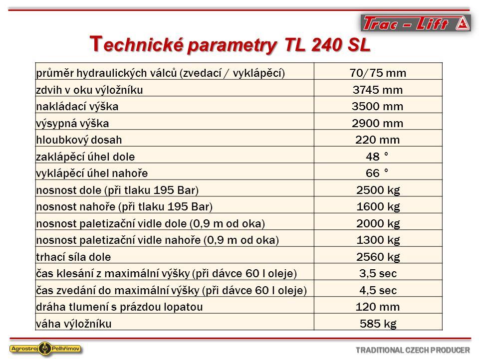T echnické parametry TL 240 SL průměr hydraulických válců (zvedací / vyklápěcí)70/75 mm zdvih v oku výložníku3745 mm nakládací výška3500 mm výsypná výška2900 mm hloubkový dosah220 mm zaklápěcí úhel dole48 ° vyklápěcí úhel nahoře66 ° nosnost dole (při tlaku 195 Bar)2500 kg nosnost nahoře (při tlaku 195 Bar)1600 kg nosnost paletizační vidle dole (0,9 m od oka)2000 kg nosnost paletizační vidle nahoře (0,9 m od oka)1300 kg trhací síla dole2560 kg čas klesání z maximální výšky (při dávce 60 l oleje)3,5 sec čas zvedání do maximální výšky (při dávce 60 l oleje)4,5 sec dráha tlumení s prázdou lopatou120 mm váha výložníku585 kg TRADITIONAL CZECH PRODUCER