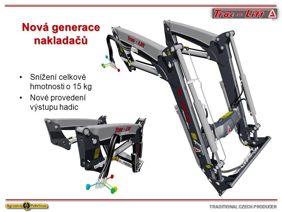 TRADITIONAL CZECH PRODUCER Nová generace nakladačů Snížení celkové hmotnosti o 15 kg Nové provedení výstupu hadic