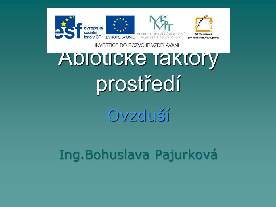 Abiotické faktory prostředí Ovzduší Ing.Bohuslava Pajurková