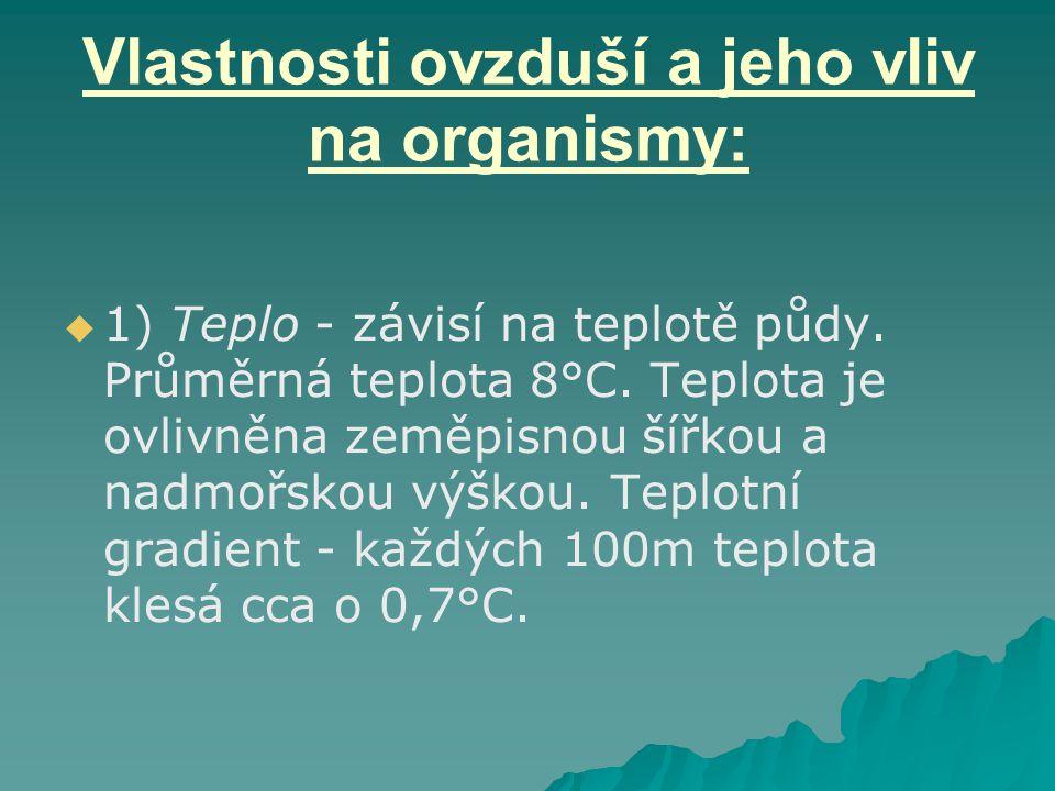 Vlastnosti ovzduší a jeho vliv na organismy:   1) Teplo - závisí na teplotě půdy. Průměrná teplota 8°C. Teplota je ovlivněna zeměpisnou šířkou a nad