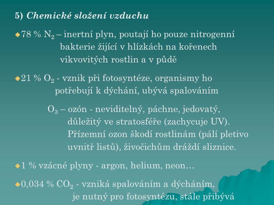 5) Chemické složení vzduchu   78 % N 2 – inertní plyn, poutají ho pouze nitrogenní bakterie žijící v hlízkách na kořenech vikvovitých rostlin a v pů