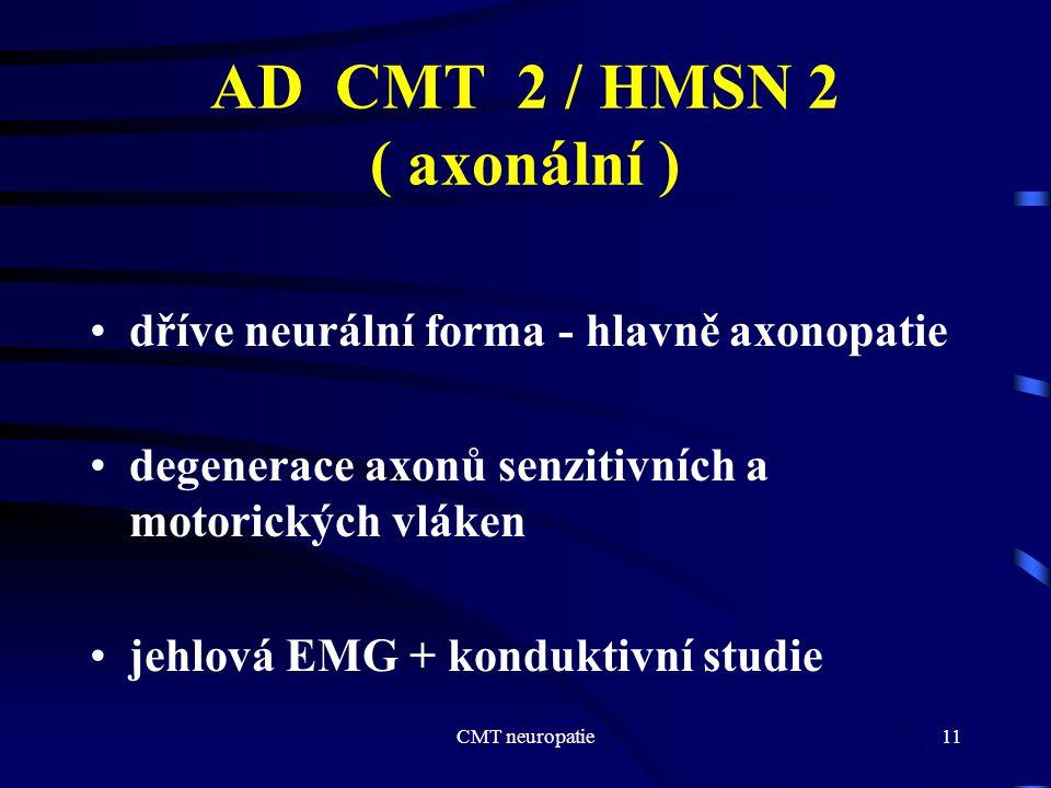 CMT neuropatie11 AD CMT 2 / HMSN 2 ( axonální ) dříve neurální forma - hlavně axonopatie degenerace axonů senzitivních a motorických vláken jehlová EM
