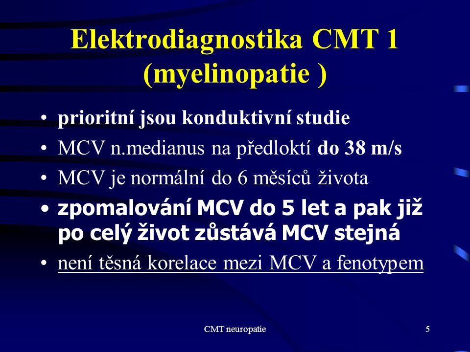 CMT neuropatie5 Elektrodiagnostika CMT 1 (myelinopatie ) prioritní jsou konduktivní studie MCV n.medianus na předloktí do 38 m/s MCV je normální do 6