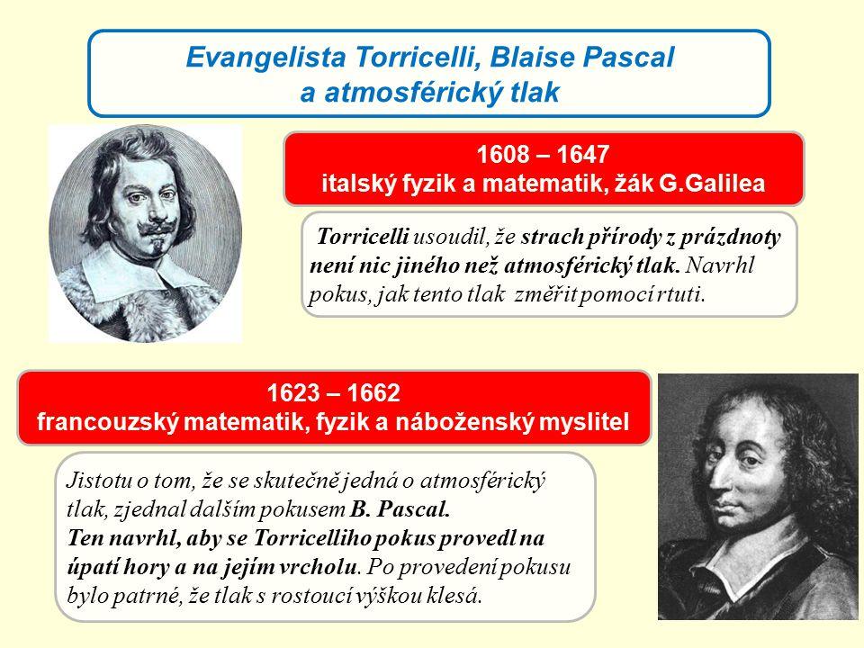 Evangelista Torricelli, Blaise Pascal a atmosférický tlak Jistotu o tom, že se skutečně jedná o atmosférický tlak, zjednal dalším pokusem B. Pascal. T