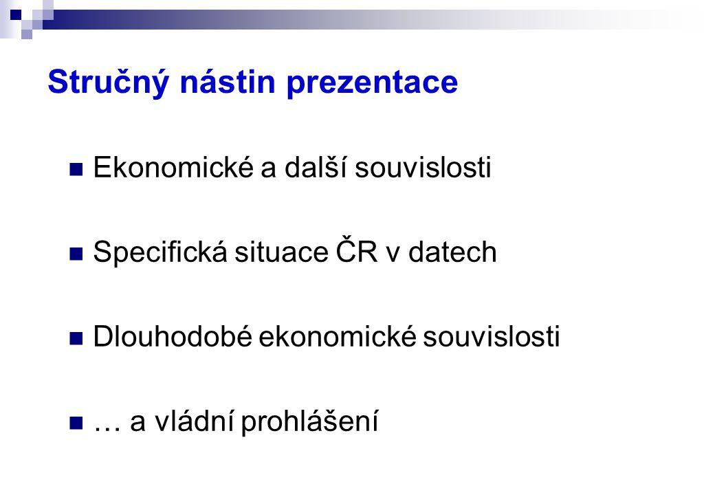 Stručný nástin prezentace Ekonomické a další souvislosti Specifická situace ČR v datech Dlouhodobé ekonomické souvislosti … a vládní prohlášení