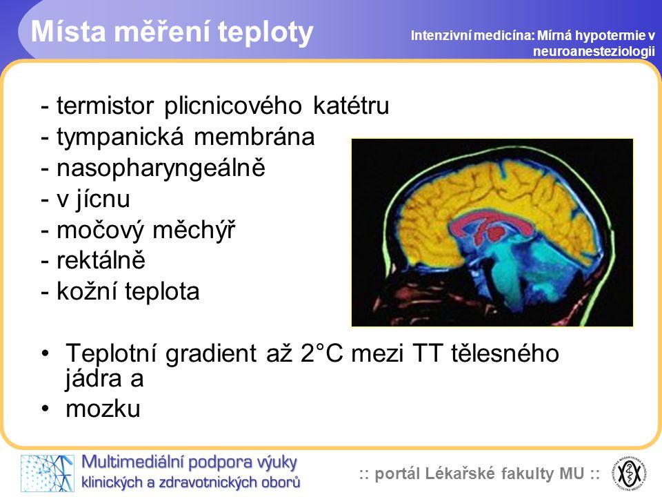 :: portál Lékařské fakulty MU :: Intenzivní medicína: Mírná hypotermie v neuroanesteziologii Účinnost hypotermie při ischemickém poškození mozku - ově