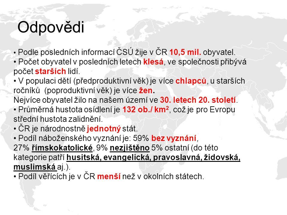 Odpovědi Podle posledních informací ČSÚ žije v ČR 10,5 mil. obyvatel. Počet obyvatel v posledních letech klesá, ve společnosti přibývá počet starších