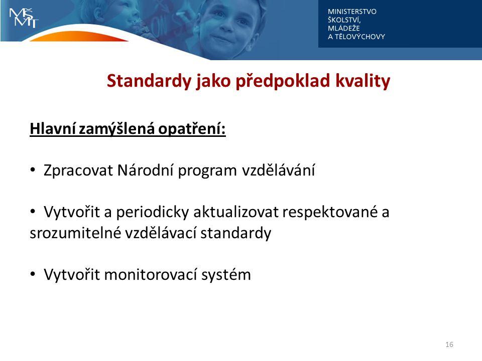 16 Standardy jako předpoklad kvality Hlavní zamýšlená opatření: Zpracovat Národní program vzdělávání Vytvořit a periodicky aktualizovat respektované a