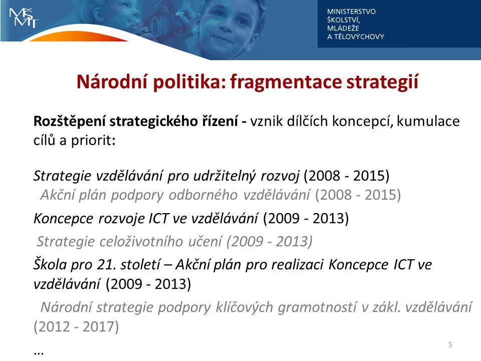 5 Národní politika: fragmentace strategií Rozštěpení strategického řízení - vznik dílčích koncepcí, kumulace cílů a priorit: Strategie vzdělávání pro