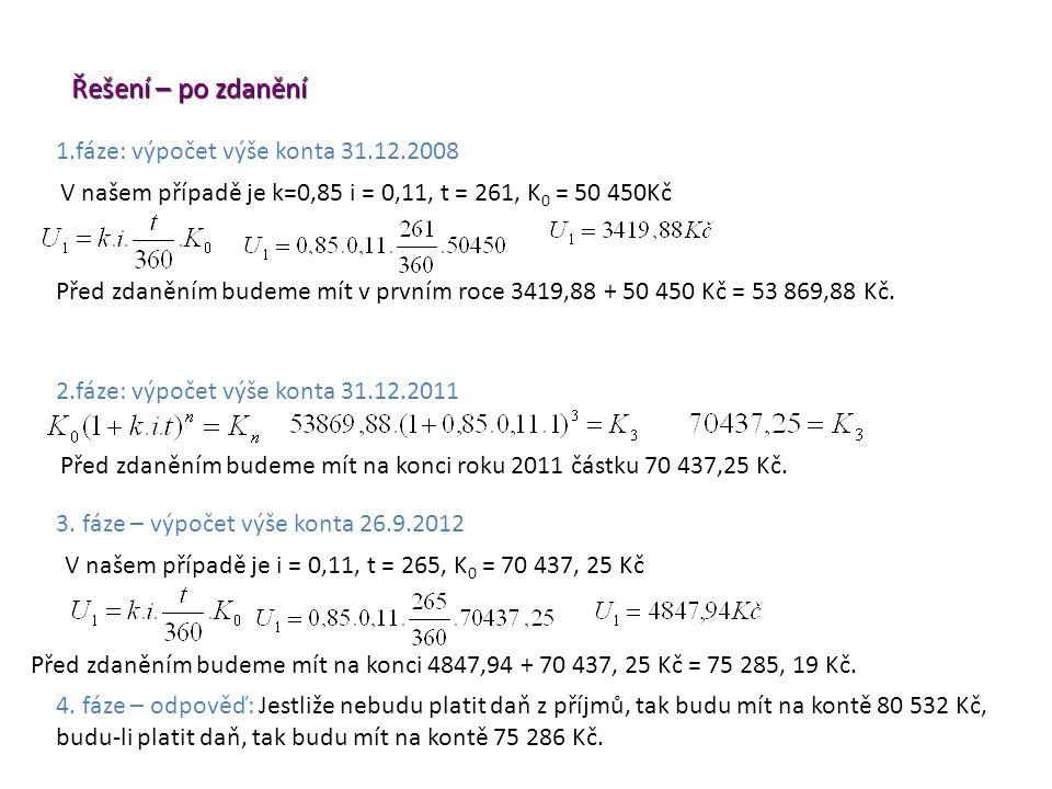 3. fáze – výpočet výše konta 26.9.2012 Řešení – po zdanění Před zdaněním budeme mít na konci roku 2011 částku 70 437,25 Kč. 2.fáze: výpočet výše konta