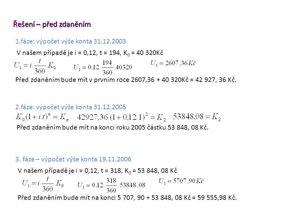 3. fáze – výpočet výše konta 19.11.2006 Řešení – před zdaněním Před zdaněním bude mít na konci roku 2005 částku 53 848, 08 Kč. 2.fáze: výpočet výše ko