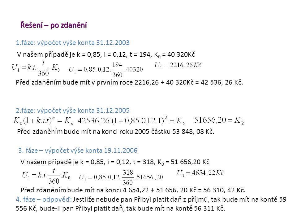 3. fáze – výpočet výše konta 19.11.2006 Řešení – po zdanění Před zdaněním bude mít na konci roku 2005 částku 53 848, 08 Kč. 2.fáze: výpočet výše konta