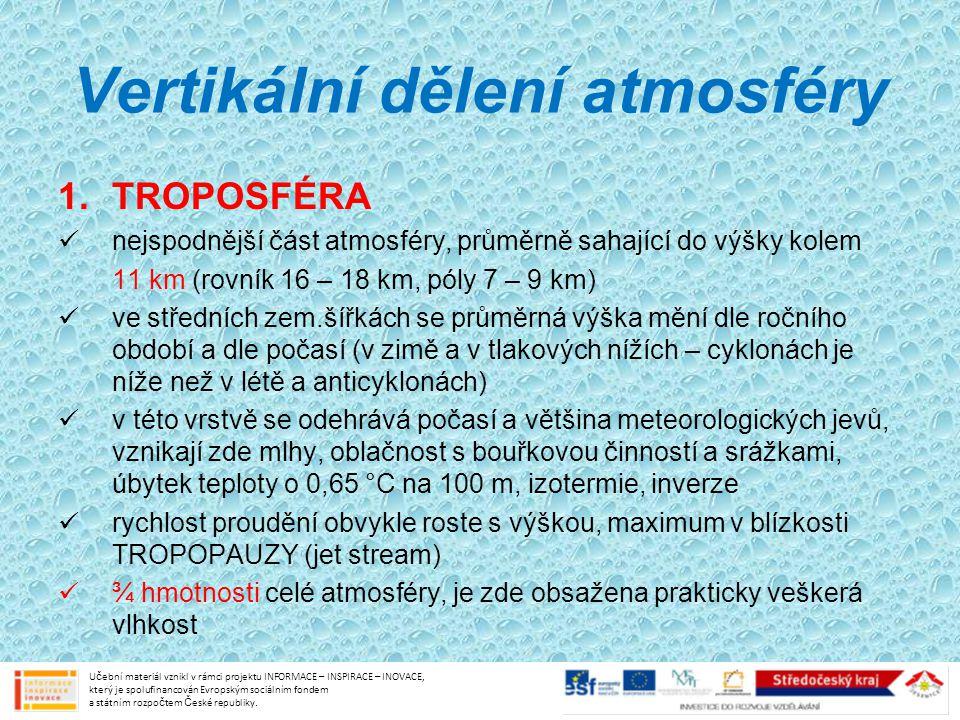 Vertikální dělení atmosféry 1.TROPOSFÉRA nejspodnější část atmosféry, průměrně sahající do výšky kolem 11 km (rovník 16 – 18 km, póly 7 – 9 km) ve stř