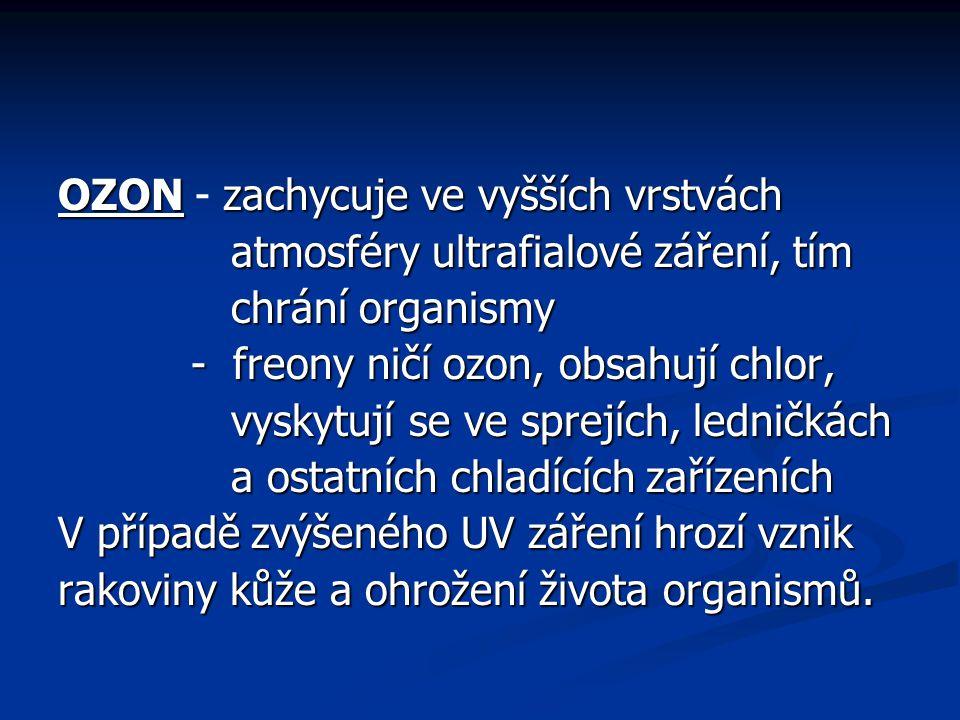 OZON zachycuje ve vyšších vrstvách OZON - zachycuje ve vyšších vrstvách atmosféry ultrafialové záření, tím atmosféry ultrafialové záření, tím chrání o