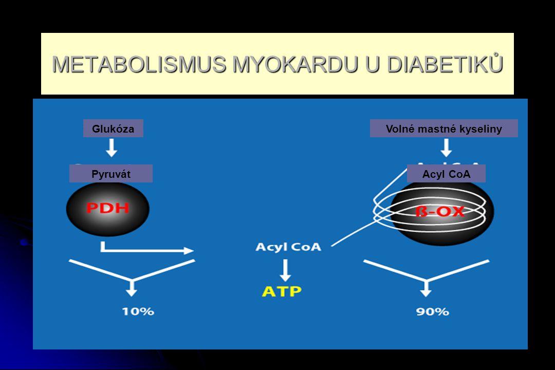 Srdce diabetika 70 - 90 % energie oxidací VMK 70 - 90 % energie oxidací VMK 10 - 30 % energie oxidací glukosy - důležitější, nižší spotřeba O 2 a vyšší produkce ATP 10 - 30 % energie oxidací glukosy - důležitější, nižší spotřeba O 2 a vyšší produkce ATP Ve 40.letech minulého století: hlavním zdrojem energie pro srdeční sval jsou VMK Ve 40.letech minulého století: hlavním zdrojem energie pro srdeční sval jsou VMK Výrazná lipolýza a nabídka VMK /Randlův cyklus/, VMK brání oxidaci glukózy Výrazná lipolýza a nabídka VMK /Randlův cyklus/, VMK brání oxidaci glukózy