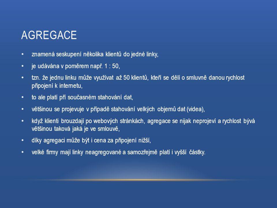AGREGACE znamená seskupení několika klientů do jedné linky, je udávána v poměrem např.