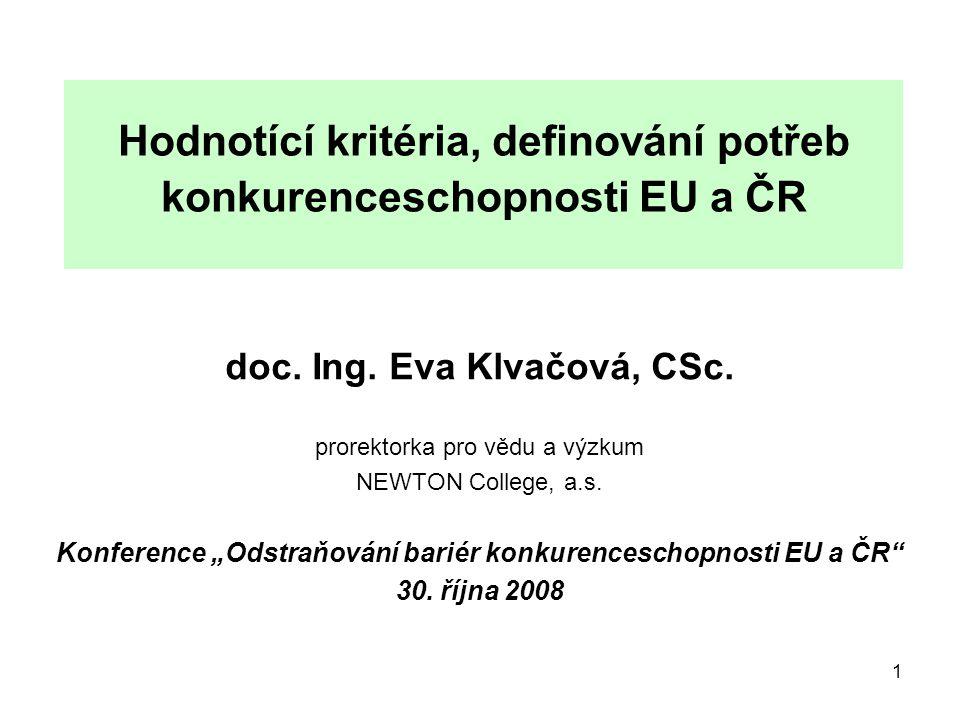 1 Hodnotící kritéria, definování potřeb konkurenceschopnosti EU a ČR doc.