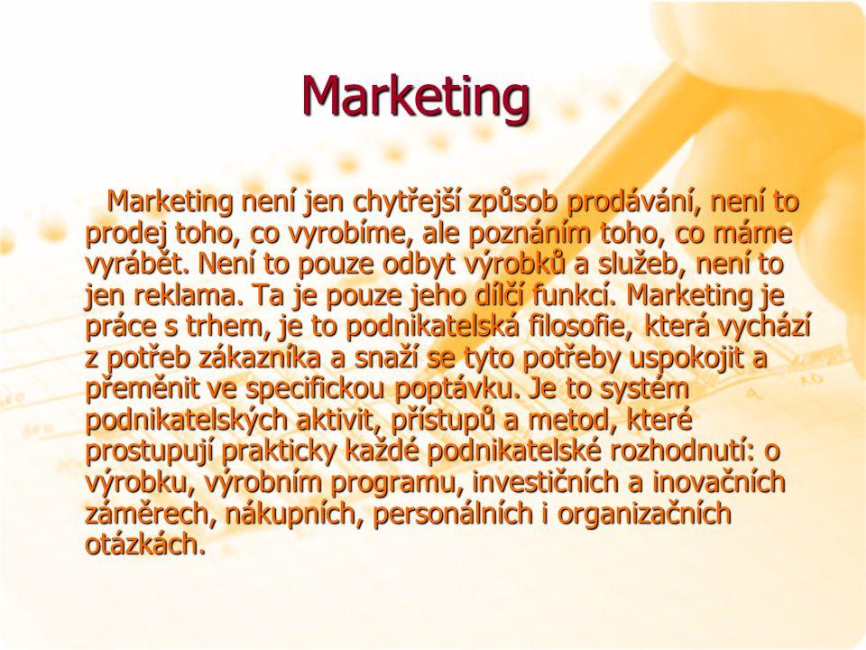 Marketing Marketing Marketing není jen chytřejší způsob prodávání, není to prodej toho, co vyrobíme, ale poznáním toho, co máme vyrábět. Není to pouze