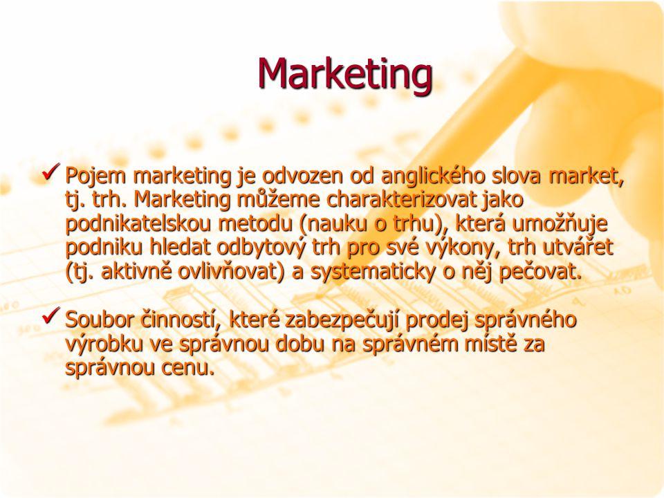 Marketing Marketing Pojem marketing je odvozen od anglického slova market, tj. trh. Marketing můžeme charakterizovat jako podnikatelskou metodu (nauku