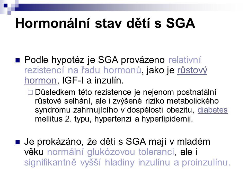 Hormonální stav dětí s SGA Podle hypotéz je SGA provázeno relativní rezistencí na řadu hormonů, jako je růstový hormon, IGF-I a inzulín.růstový hormon  Důsledkem této rezistence je nejenom postnatální růstové selhání, ale i zvýšené riziko metabolického syndromu zahrnujícího v dospělosti obezitu, diabetes mellitus 2.