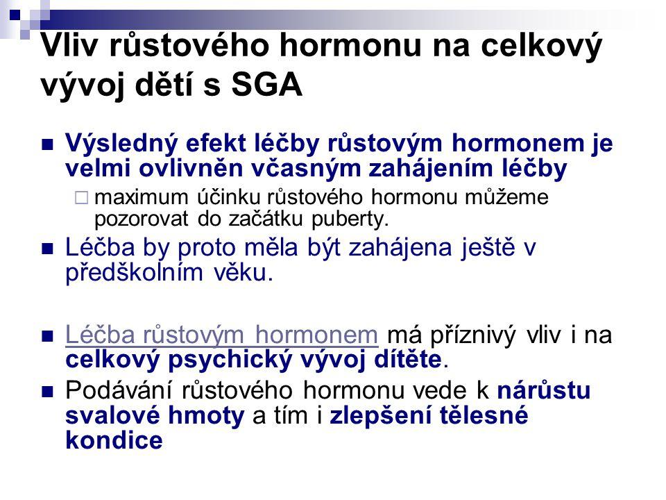 Vliv růstového hormonu na celkový vývoj dětí s SGA Výsledný efekt léčby růstovým hormonem je velmi ovlivněn včasným zahájením léčby  maximum účinku růstového hormonu můžeme pozorovat do začátku puberty.