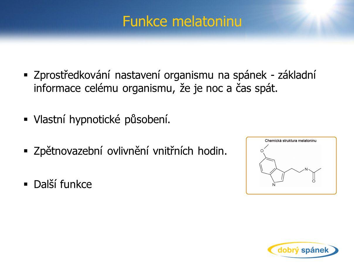 Funkce melatoninu  Zprostředkování nastavení organismu na spánek - základní informace celému organismu, že je noc a čas spát.  Vlastní hypnotické pů