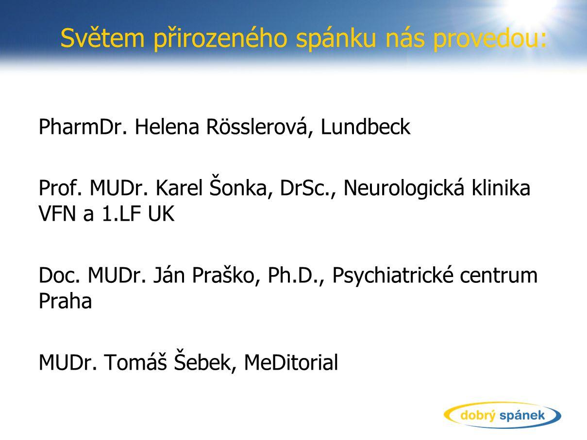Světem přirozeného spánku nás provedou: PharmDr. Helena Rösslerová, Lundbeck Prof. MUDr. Karel Šonka, DrSc., Neurologická klinika VFN a 1.LF UK Doc. M