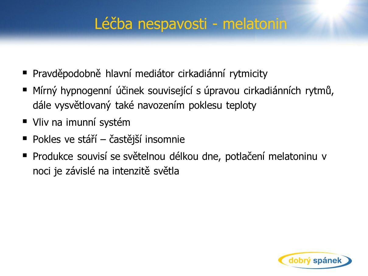 Léčba nespavosti - melatonin  Pravděpodobně hlavní mediátor cirkadiánní rytmicity  Mírný hypnogenní účinek související s úpravou cirkadiánních rytmů