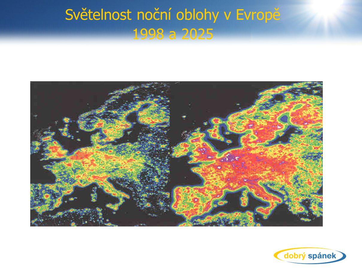 Světelnost noční oblohy v Evropě 1998 a 2025