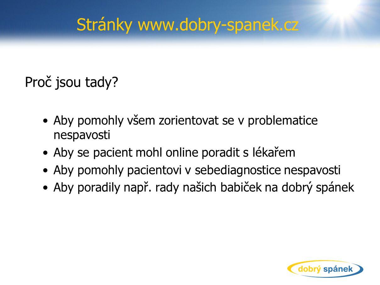 Stránky www.dobry-spanek.cz Proč jsou tady? Aby pomohly všem zorientovat se v problematice nespavosti Aby se pacient mohl online poradit s lékařem Aby
