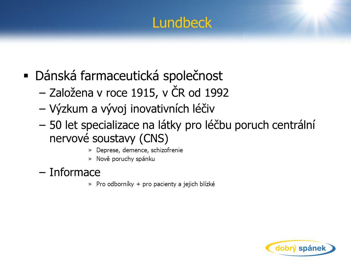 Lundbeck  Dánská farmaceutická společnost –Založena v roce 1915, v ČR od 1992 –Výzkum a vývoj inovativních léčiv –50 let specializace na látky pro lé