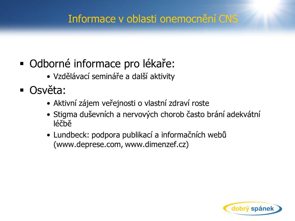 Informace v oblasti onemocnění CNS  Odborné informace pro lékaře: Vzdělávací semináře a další aktivity  Osvěta: Aktivní zájem veřejnosti o vlastní z