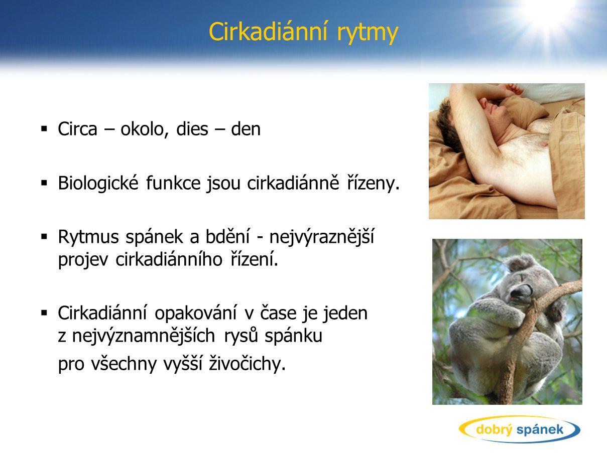 Cirkadiánní rytmy  Circa – okolo, dies – den  Biologické funkce jsou cirkadiánně řízeny.  Rytmus spánek a bdění - nejvýraznější projev cirkadiánníh