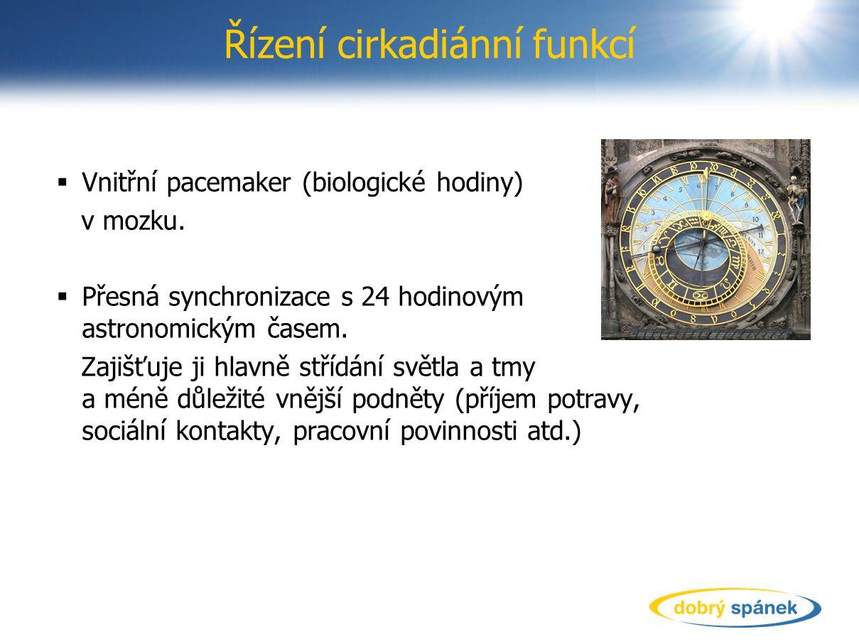 Řízení cirkadiánní funkcí  Vnitřní pacemaker (biologické hodiny) v mozku.