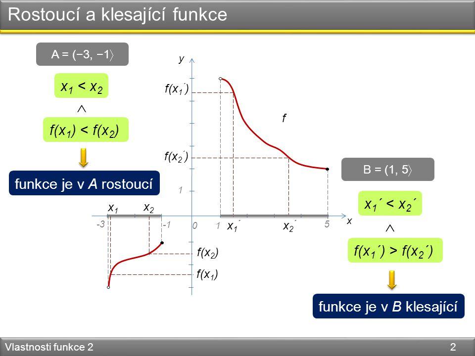 Rostoucí a klesající funkce Vlastnosti funkce 2 2 y x 01 1 f x1x1 x2x2 x 1 < x 2 x1´x1´ x2´x2´ f(x 1 ) f(x 2 ) f(x 1 ´ ) f(x 2 ´ ) f(x 1 ) < f(x 2 ) x 1 ´ < x 2 ´ f(x 1 ´) > f(x 2 ´)   funkce je v A rostoucí funkce je v B klesající A = (−3, −1  B = (1, 5  -35