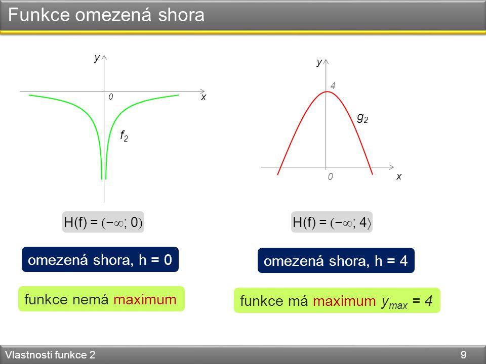 Funkce omezená shora Vlastnosti funkce 2 9 y x 0 y x 0 g2g2 4 f2f2 H(f) =  −  ; 0  H(f) =  −  ; 4  omezená shora, h = 0 omezená shora, h = 4 funkce má maximum y max = 4 funkce nemá maximum