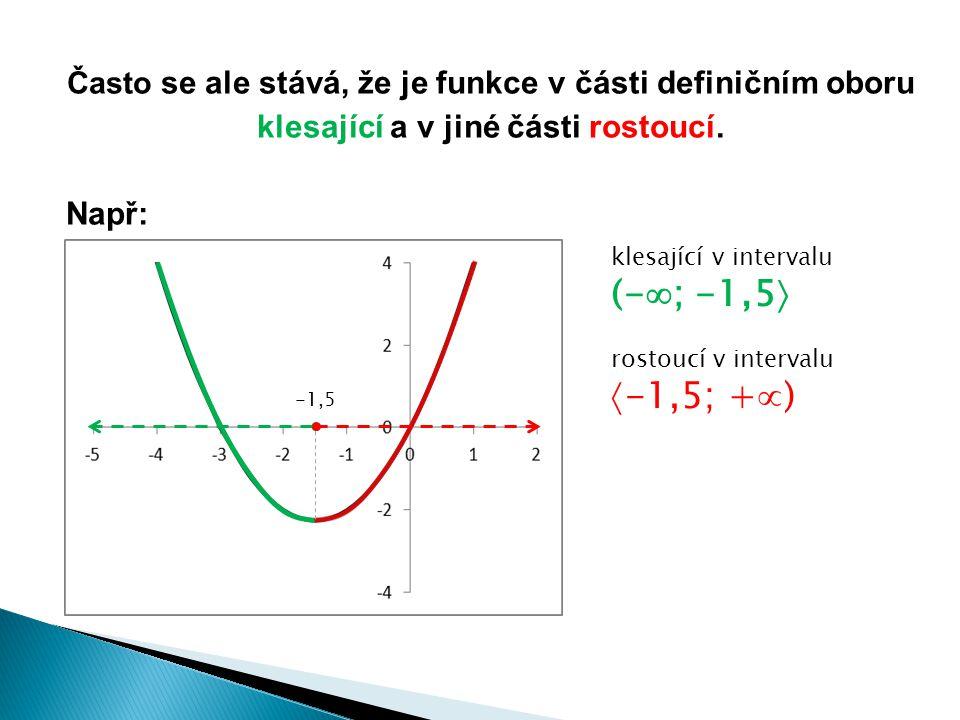 Často se ale stává, že je funkce v části definičním oboru klesající a v jiné části rostoucí. Např: -1,5 klesající v intervalu (-  ; -1,5  rostoucí v