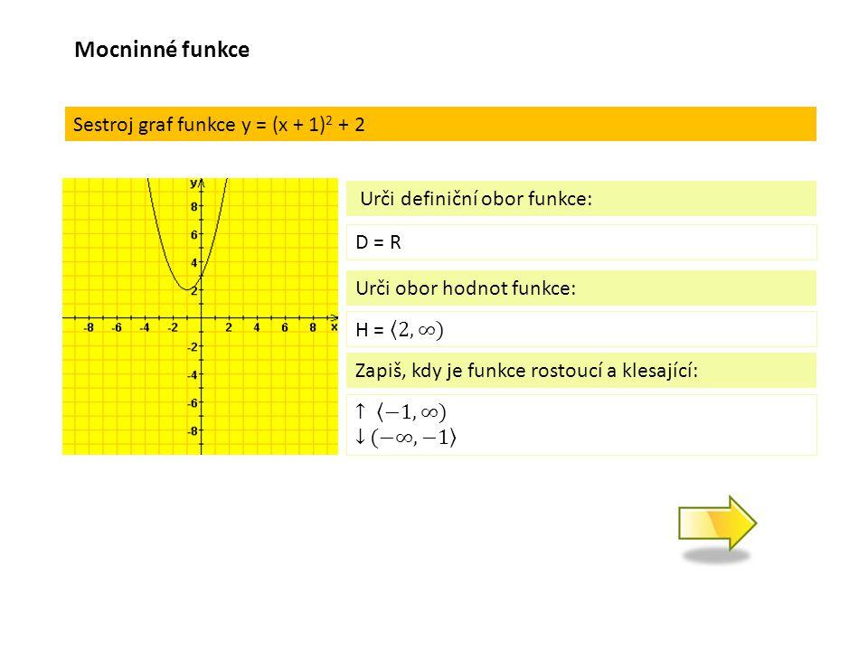 Sestroj graf funkce y = (x + 1) 2 + 2 D = R Urči definiční obor funkce: Urči obor hodnot funkce: Zapiš, kdy je funkce rostoucí a klesající: Mocninné funkce