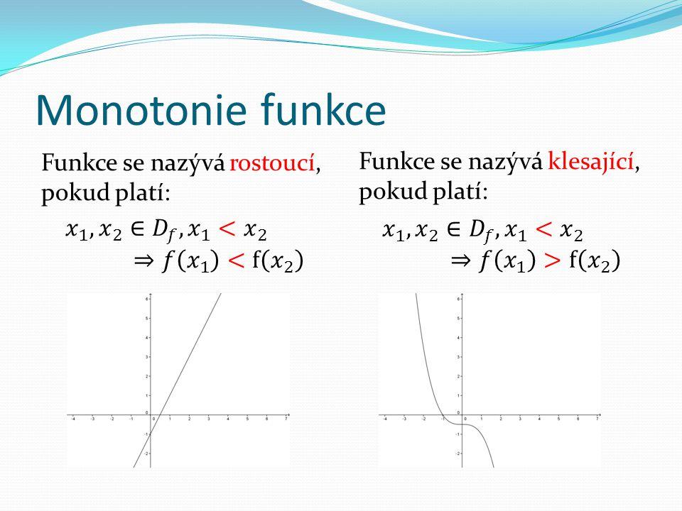 Monotonie funkce Funkce se nazývá klesající, pokud platí: