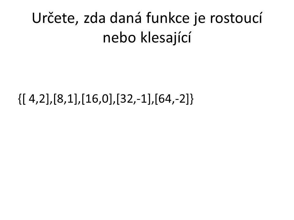 Určete, zda daná funkce je rostoucí nebo klesající {[ 4,2],[8,1],[16,0],[32,-1],[64,-2]}
