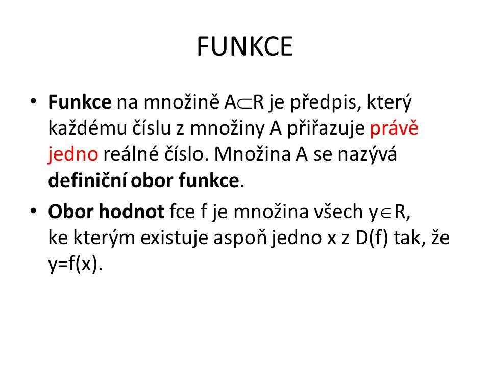 FUNKCE Funkce na množině A  R je předpis, který každému číslu z množiny A přiřazuje právě jedno reálné číslo. Množina A se nazývá definiční obor funk
