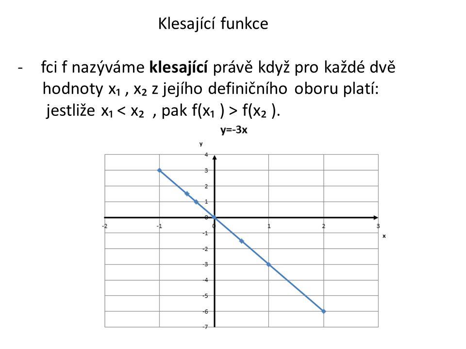 Klesající funkce -fci f nazýváme klesající právě když pro každé dvě hodnoty x₁, x₂ z jejího definičního oboru platí: jestliže x₁ f(x₂ ).