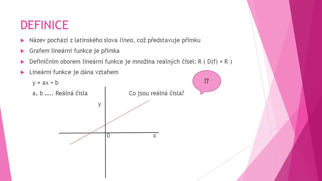 DEFINICE  Název pochází z latinského slova linea, což představuje přímku  Grafem lineární funkce je přímka  Definičním oborem lineární funkce je mn